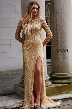 Gold Dresses, discover the latest trends at Jovani Fashions. Long gold dresses for parties and wedding will bring sparkle and shine to your look. Couture Dresses Gowns, Jovani Dresses, Modest Dresses, Short Dresses, Fashion Dresses, Prom Dresses, Metallic Dress, Gold Dress, Gold Long Sleeve Dress