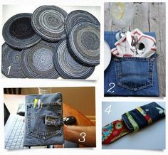 UpCycled Jeans - I hate to throw out blue jean of worn spots, blowouts, fraying etc. I need rugs and other things I can make with our old jeans. = http://entirelysmitten.typepad.com/entirelysmitten/upcycled/