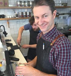 Henry working his magic at @rough_diamond_coffee again. Coffee up! #Warrnambool #coffee #cafe by chrisallsopphotography