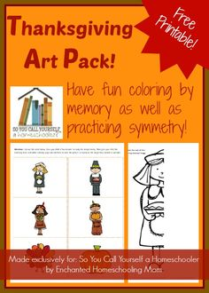 Free Printable Thanksgiving Art Pack :: Download this free printable Thanksgiving art pack to help your young artists practice their colors and to test their memories. :: So You Call Yourself a Homeschooler?