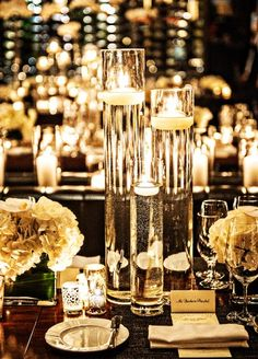 Thin and Tall Glass Floating Candle Holders Centerpiece - New York Wedding Candle Vase Decor