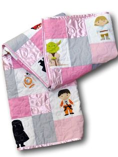 Handmade pink and gray Star Wars crib quilt for a baby girl!
