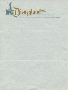 Disneyland, Inc., 1955 Letterhead upon which invitations to the opening of Disneyland California were written here. Disney Princess Facts, Disney Fun Facts, Disneyland California, Vintage Disneyland, Disneyland Tips, Disney Love, Disney Stuff, Walt Disney, Punk Disney