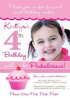 Pinkalicious Party Invitation - Photo Version. $15.00, via Etsy.