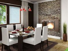 O revestimento de pedra fica ótimo em salas modernas!