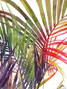 My Sister Painted Colourful Watercolour Jungle - LEGER(Watercolor/Aquarelle/水彩) - Art Tropical, Tropical Leaves, Tropical Plants, Canvas Artwork, Canvas Prints, Art Prints, Watercolor Flowers, Watercolor Paintings, Watercolors