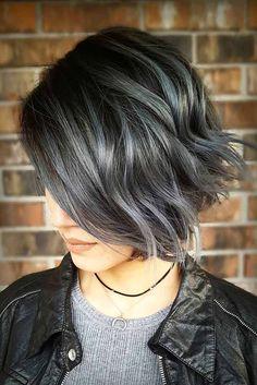 Gray with Dark Hair Highlights Short Dark Hair, Short Hair Cuts, Short Wavy, Haircut For Thick Hair, Wavy Hair, Brown Hair With Silver Highlights, Funky Highlights, Charcoal Hair, Transition To Gray Hair