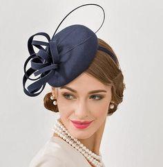 79c2cbb96f9 Unique flower pillbox hat for women plain navy wool occasion hats winter  wear