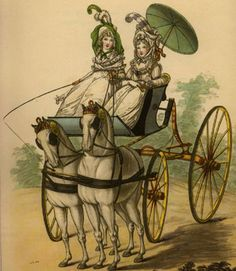 Phaetons became popular in the beginning of the 19th century, just in time for those regency romances. This springy, single horse carriages had huge wheels and were good for those country drives.