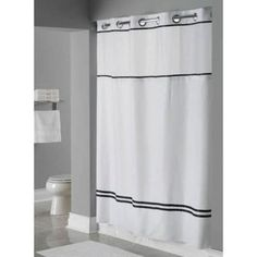Focus White With Black Stripes Hookless Shower Curtain Curtains