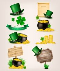 Set of St. Patrick's Day related icons. Vector. vector art illustration
