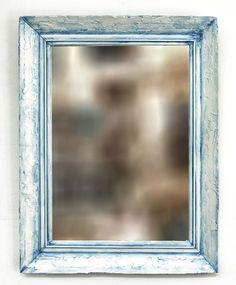 espejo con marco reciclado blanco celeste