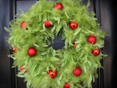 Lime Green Feather Wreath with Red Ornaments - 20 Astonishing Handmade Christmas Wreaths Grinch Christmas Party, Office Christmas, Winter Christmas, Christmas Holidays, Grinch Party, Le Grinch, Whoville Christmas Decorations, Christmas Wreaths, Christmas Ornaments
