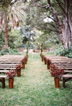 Brides.com: . Seating doesn't have to be stuffy. Go with low-lying picnic benches and line your ceremony aisle with copper pails filled with rich autumnal foliage.