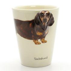 http://www.muddymood.com  Original hand sculpt and hand paint   Dachshund Smooth Haired Dog Mug Handmade.