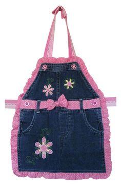 Toddler Bib or Apron Pink Polka Dot Recycled Denim Size 1-2 Baby Gift. $19.99, via Etsy.