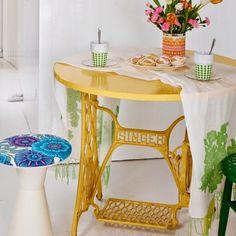 Tavolo riciclato giallo