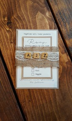 Bespoke Rustic Scrabble Hessian/Burlap and Lace Wedding Invitations