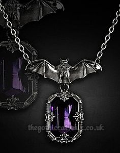 Pewter Bat with Purple Crystal Necklace