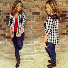 #New Black&White Plaid shirt with lace details. Gameday is calling! #wps #howlyes #blackandwhite #red #panthers #reddevils #cabot #jacksonville #like #plaidisrad #lace #plaid #fashion #fall #fallfashion #arkansas #bombshell #sunrays_salon #bronze_bombshell