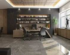CEO Office - El Hamra Tower - Kuwait City office ideas for two Corporate Office Design, Office Cabin Design, Small Office Design, Office Furniture Design, Office Interior Design, Office Interiors, Black Office Furniture, Design Desk, Office Designs