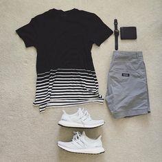WEBSTA @ excessive.styles - I'm a fan of the stripes_______________• @allsaintslive Tshirt• @zanerobe shorts• @adidas white on white…