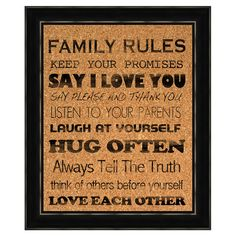 I pinned this Family Rules Framed Cork Board from the Cupcake Kitchen event at Joss and Main!