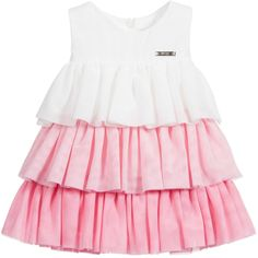 Baby girls sleeveless, pink and white dress by Mayoral. It has a fitted bodice and pretty, double layered tiers of tulle from thewaist. The dress is a soft, textured polyester with a lightweight cotton blend lining and fastens with a concealed zip at the back for easy dressing.<br /> <ul> <li>100% polyester (soft, textured feel)</li> <li>Lining: 65% polyester, 35% cotton (smooth, lightweight feel)</li> <li>Machine wash (30*C)</li> <li>Designer colour: Rose</li> <li>Zip fastening</li> <...
