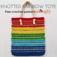Knotted Rainbow Tote Bag - free crochet pattern on Mooglyblog.com!