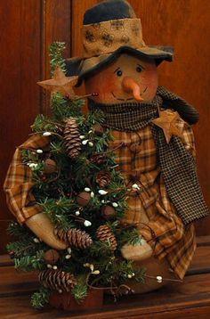 HANDMADE PRIMITIVE SNOWMAN DOLL WITH TREE WINTER FOLK ART in Antiques   eBay
