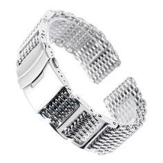 021d380d72e3 20 22 24mm Silver Stainless Steel Watchband Replacement Bracelet Men