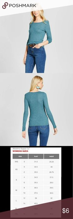 """Sea Echo Teal Long Sleeve Rib T-Shirt Model wears size S/4 and is 5'9.5""""  Mix and match top will pair with various accessories and clothes  Comfy and versatile rib fit can be tucked into high-waisted bottoms  Machine washable for easy care Mossimo Supply Co Tops Tees - Long Sleeve"""