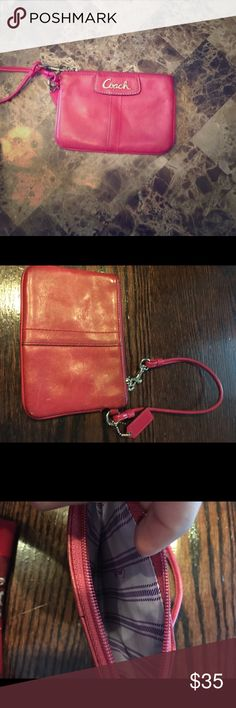 Coach Wristlet Used coach Wristlet but in good condition still. Second picture shows minor scratches. Coach Bags Clutches & Wristlets