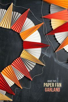 Paper Fan Garland DIY | Oh Happy Day! Super fav Crafter! Wahhhooo! #craft #paper #awesome