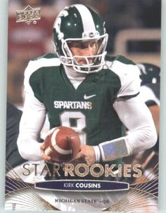 2012 Upper Deck Football Card # 105 Kirk Cousins SR RC - Michigan State Spartans (Washington Redskins (Star Rookies / RC Rookie Card)(ENCASED NFL Trading Card) by Upper Deck Football. $4.77. 2012 Upper Deck Football Card # 105 Kirk Cousins SR RC - Michigan State Spartans (Washington Redskins (Star Rookies / RC Rookie Card)(ENCASED NFL Trading Card)