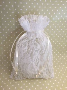 Tea Party Favor Bag - 10 Beautiful lace and ribbon drawstring bags, vintage tea party