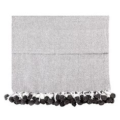 Handcrafted Cotton Pom Pom Throw - Grey Herringbone #ConnectedGoods and #PinToWin.