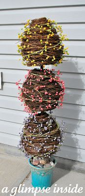 A Glimpse Inside: Grape Vine Egg Topiary Tutorial.. Very cute idea.. But could be adapted for Christmas Ornaments & other things as well...