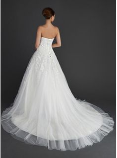 Ball-Gown Sweetheart Chapel Train Satin Tulle Wedding Dress With Lace (002011656) - JJsHouse