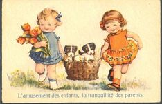 KH033 Fillettes Corbeille DE Chien Couple OF Girls Basket OF Puppies Dogs Tulips   eBay