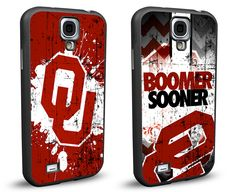 Oklahoma Sooners Cell Phone Hard Case TWO PACK for Samsung Galaxy S5, Samsung Galaxy S4 or Samsung Galaxy S4 Mini