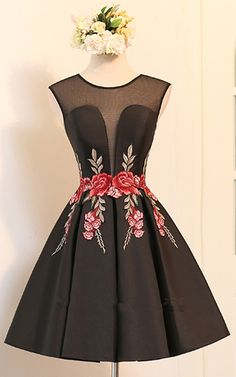 Black Knee Length A Line V Neckline Cap Sleeve Ruched Appliques Satin Short Homecoming Dress