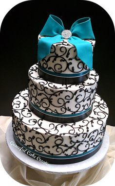 Teal and Black Wedding Cake by Graceful Cake Creations, via Flickr  I want!!!