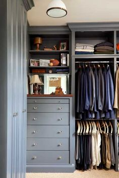 Love this shade of blue for a closet. #organizing  | More boudoir lusciousness at http://mylusciouslife.com/walk-in-wardrobes-closets-dressing-rooms-boudoirs/