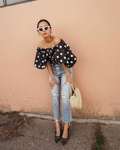Sleek white frames and vintage jeans make this top feel very 2018. | We're Going Completely Dotty Over These Chic Summer Outfits