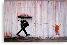 Graffiti Banksy canvas oil Painting Rainbow Rain Man Umbrella wall street Art Urban Custom Stencil Spray by Pepe Banksy Graffiti, Street Art Banksy, Graffiti Kunst, Bansky, Banksy Canvas, Banksy Artwork, Graffiti Wall, Stencil Graffiti, Urban Graffiti