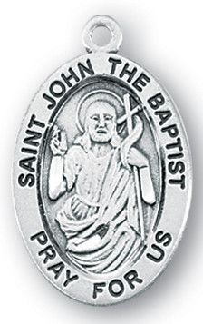 Sterling Silver Oval Shaped St. John the Baptist Medal by HMH | Catholic Shopping .com