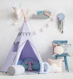 #Tipi-Zelt fürs #Kinderzimmer. Das #Zelt kann sowohl drinnen im Haus als auch im Garten oder auf der Terrasse aufgestellt werden. / fabric #tent as play area for your children's room made by Moi Mili via DaWanda.com
