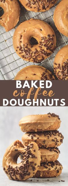 Baked Coffee Doughnuts - Deliciously moist and fluffy baked doughnuts that are i. - Baked Coffee Doughnuts – Deliciously moist and fluffy baked doughnuts that are infused with coffe - Homemade Baked Donuts, Baked Doughnut Recipes, Baked Doughnuts, Frosted Donut Recipe, Cake Donut Recipe Baked, Homemade Breads, Dessert Simple, Delicious Donuts, Coffee Recipes
