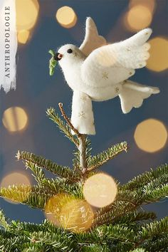 Felted Dove Tree Topper | Shop Anthropologie Christmas Decorations